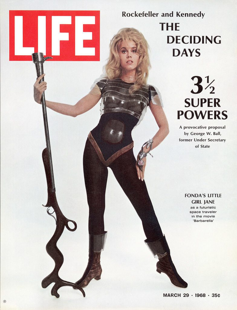 "LIFE cover published on March 29, 1968 featuring Actress Jane Fonda wearing a space-age costume for title role in Roger Vadim's film ""Barbarella."" (Photo by Carlo Bavagnoli/ The LIFE Picture Collection © Meredith Corporation)"