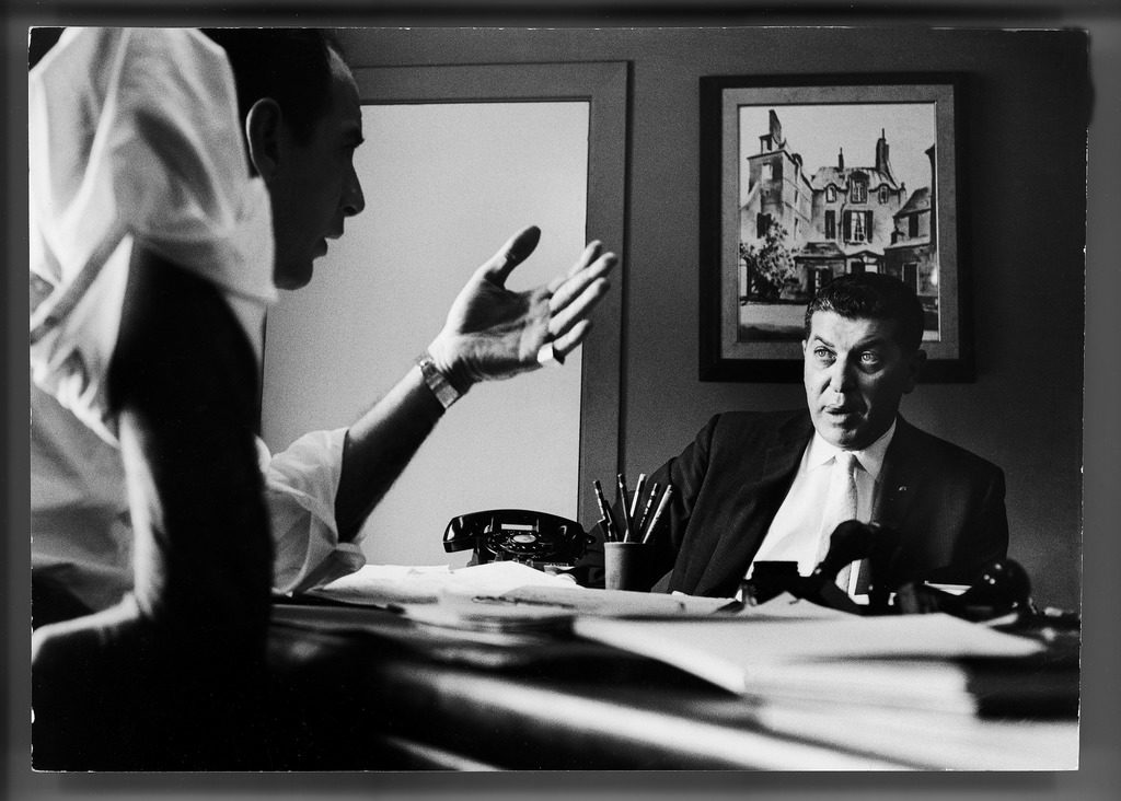 Owner of the foam rubber store, Forcite, Inc., Victor Sabatino questioning a Chicago administrative manager Herman Horowitz. (Photo by Grey Villet/The LIFE Picture Collection © Meredith Corporation)