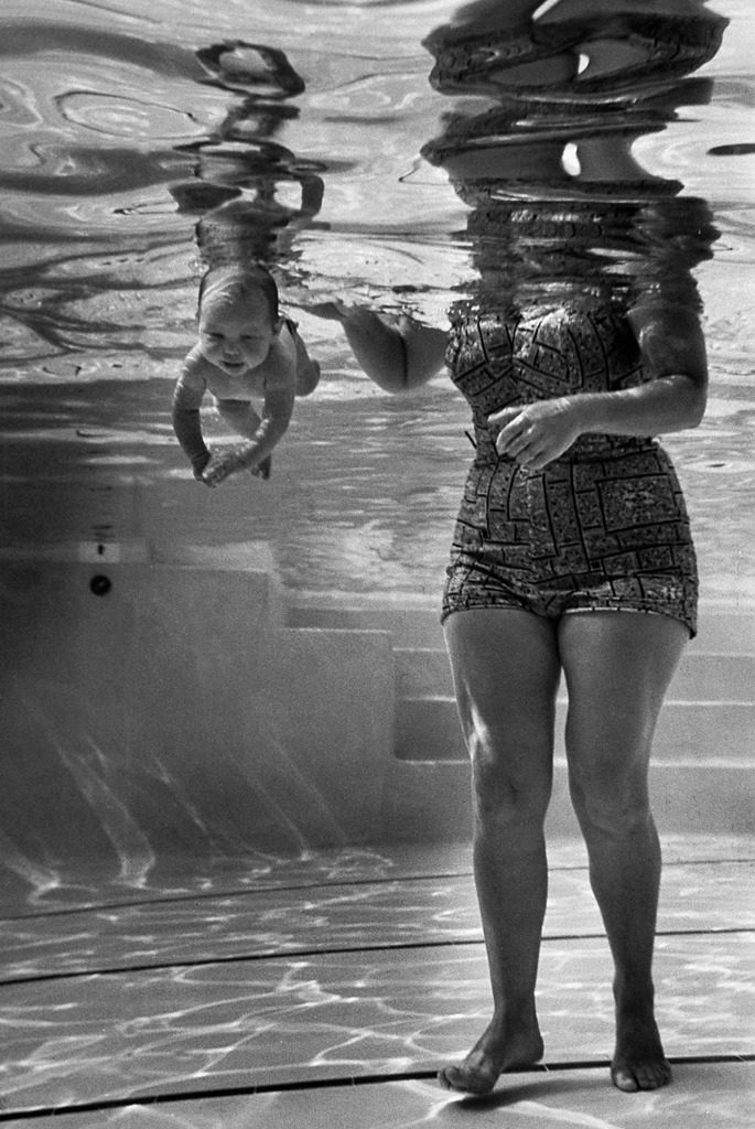 World's youngest swimmer Julie Sheldon, 9 weeks old. (Photo by Edward Clark/The LIFE Picture Collection © Meredith Corporation)