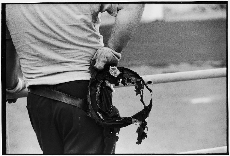 State trooper holding burnt cap of a guard taken hostage during riot at Attica State prison. (Photo by John Shearer/The LIFE Picture Collection © Meredith Corporation)
