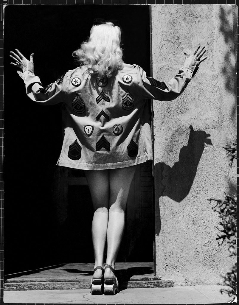 Rear view of actress Betty Grable modeling a shirt. (Photo by Walter Sanders/The LIFE Picture Collection © Meredith Corporation)