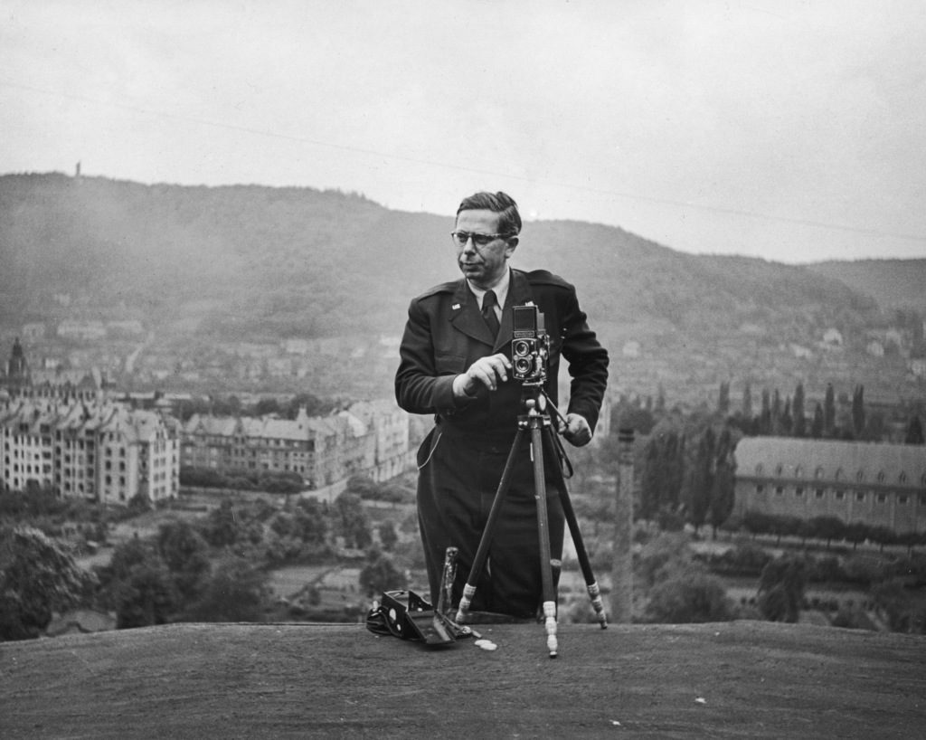 Walter Sanders on assignment near Marburg University in Germany just after WWII. (Photo by Walter Sanders/The LIFE Images Collection)