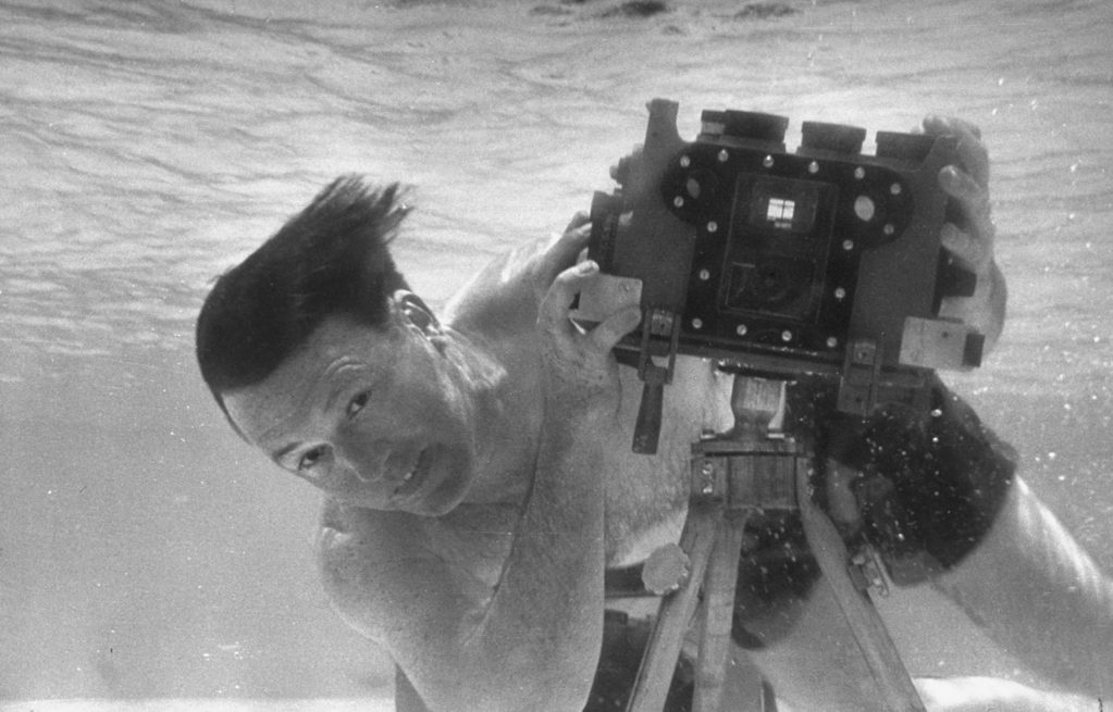 J.R. Eyerman with an underwater camera setup. (Photo by J.R. Eyerman/The LIFE Picture Collection © Meredith Corporation)