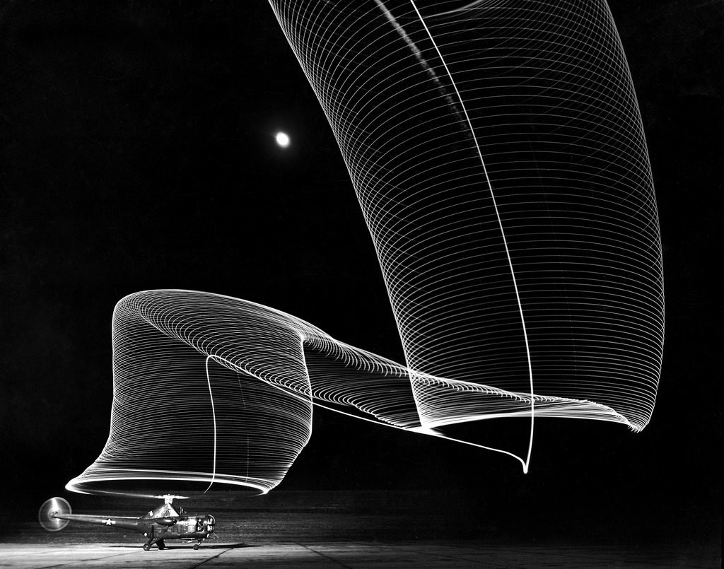 Light pattern produced by a time exposure of the light tipped rotor blades of a grounded helicopter. (Photo by Andreas Feininger/The LIFE Picture Collection © Meredith Corporation)