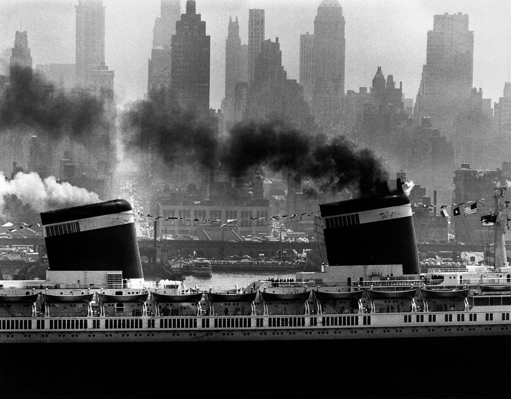 S.S. United States sailing in New York harbor. (Photo by Andreas Feininger/The LIFE Picture Collection © Meredith Corporation)