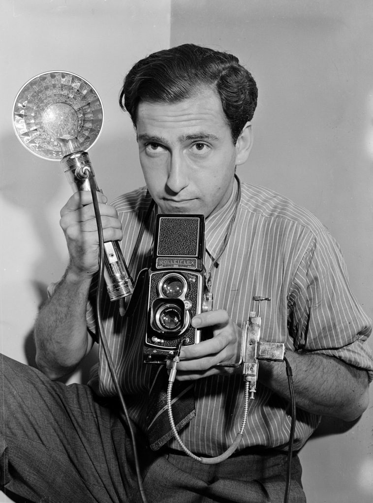 Photographer Herbert Gehr with his camera. (Photo by Carl Mydans/The LIFE Picture Collection © Meredith Corporation)