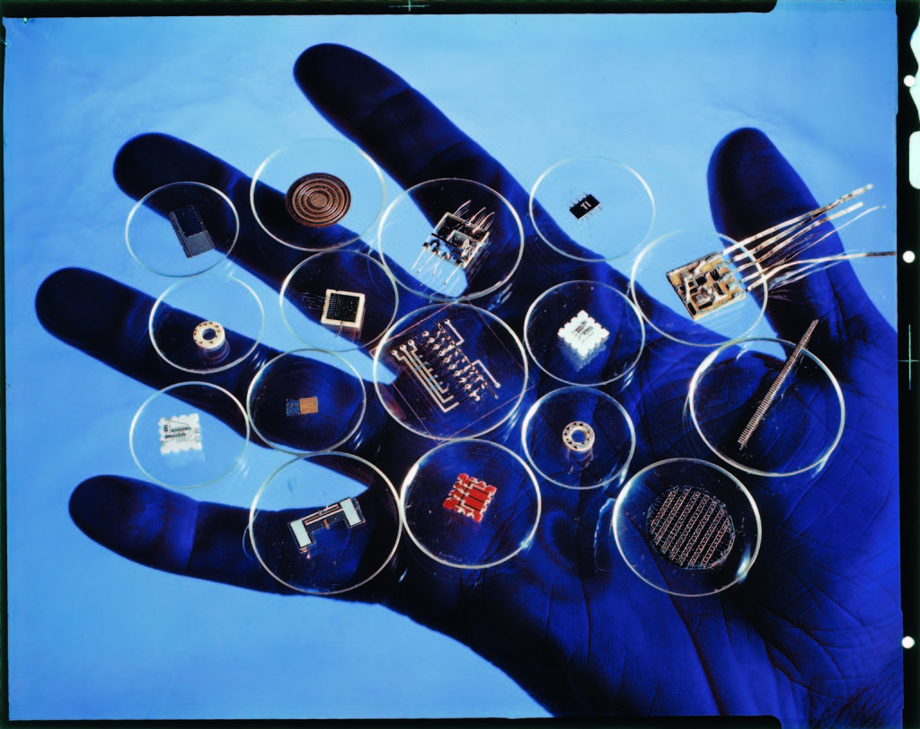 Handful of microelectronic parts. (Photo by Oscar Fritz Goro/The LIFE Picture Collection © Meredith Corporation)
