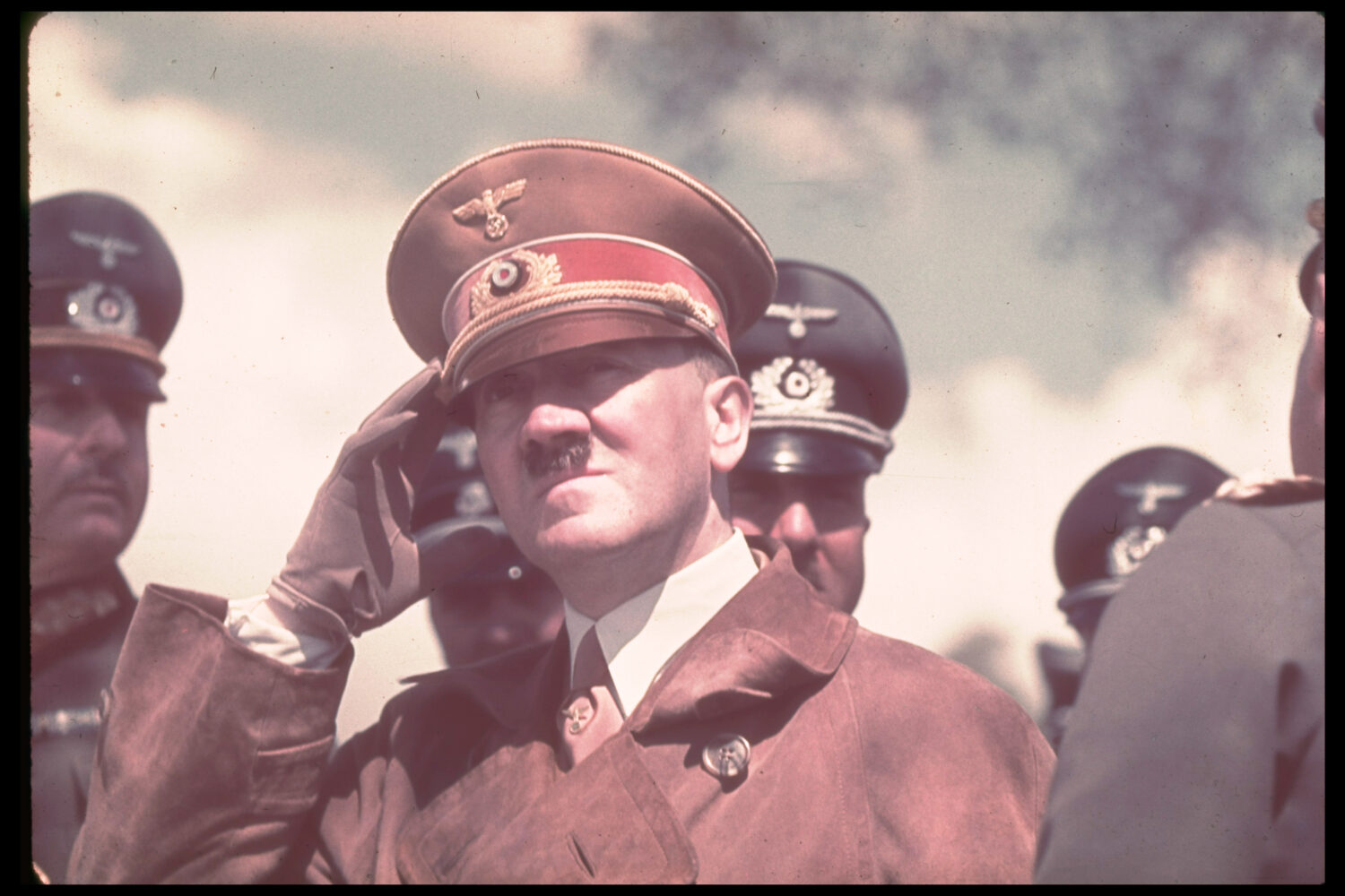 Hitler observes military maneuvers in St. Polten, Austria, in the spring of 1939.