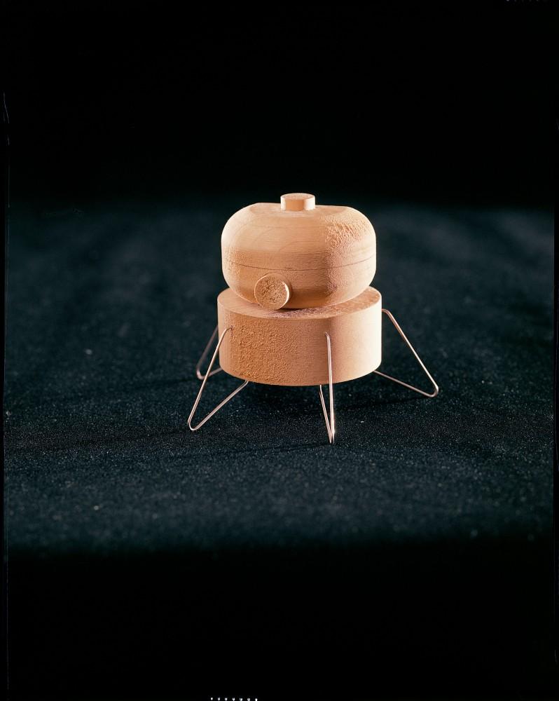 Early lunar module model, in wood, 1960s