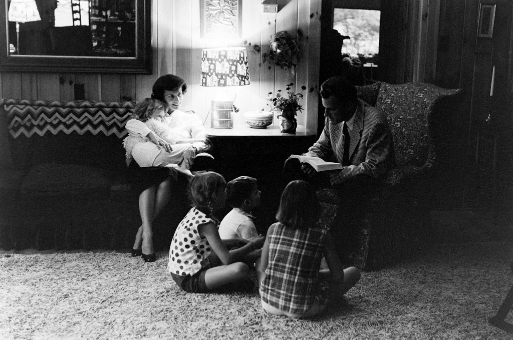 Billy Graham and family in North Carolina in 1956.