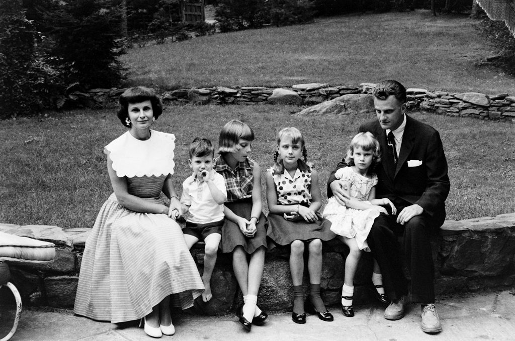 Billy and Ruth Graham and their four children in North Carolina in 1956: Franklin (who would become the pastor's designated successor as head of the Billy Graham Evangelistic Association), Virginia, Anne and Ruth.