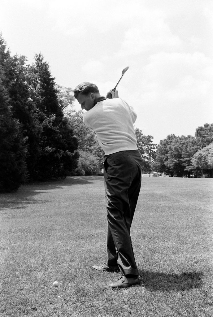 Billy Graham, 1960. Golf played a key role in Graham's life; he wrote in his autobiography that he received his calling to preach the gospel on the 18th green of the Temple Terrace Golf and Country Club.
