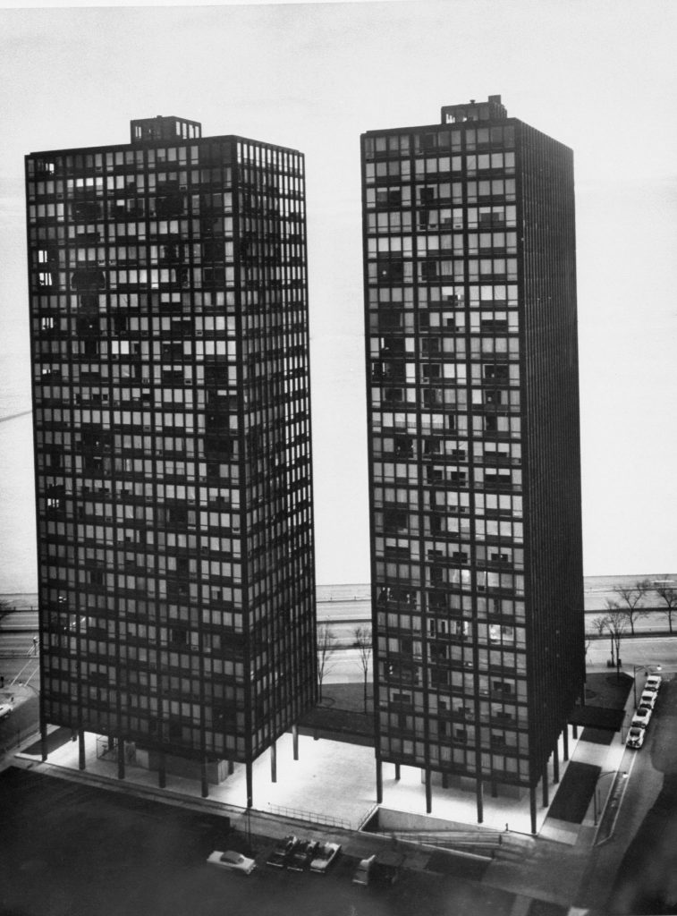 Mies van der Rohe-designed apartment houses, 860-880 Lake Shore Drive, Chicago, 1956.