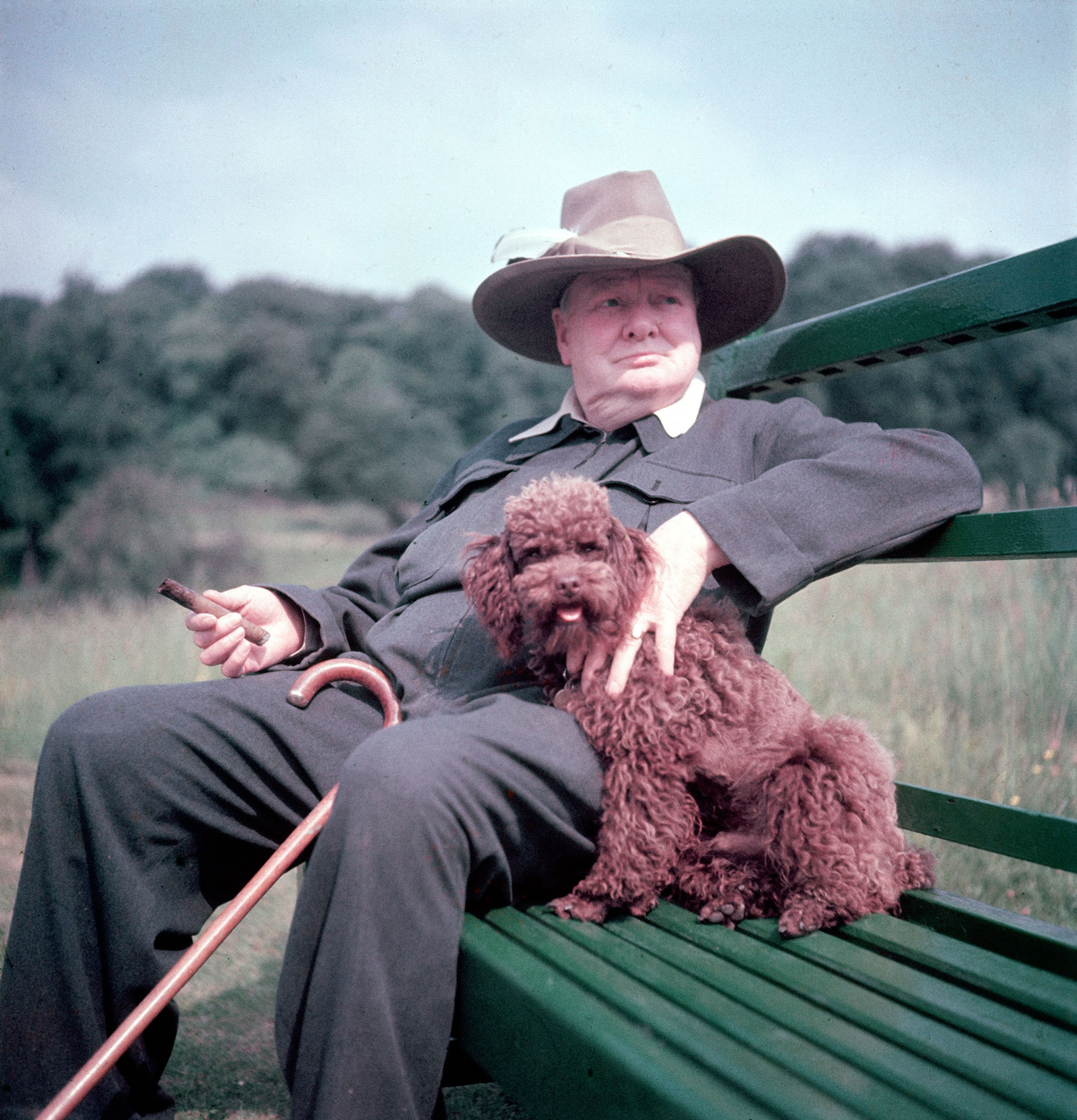 Winston Churchill and his dog, Rufus, at Chartwell in 1950.