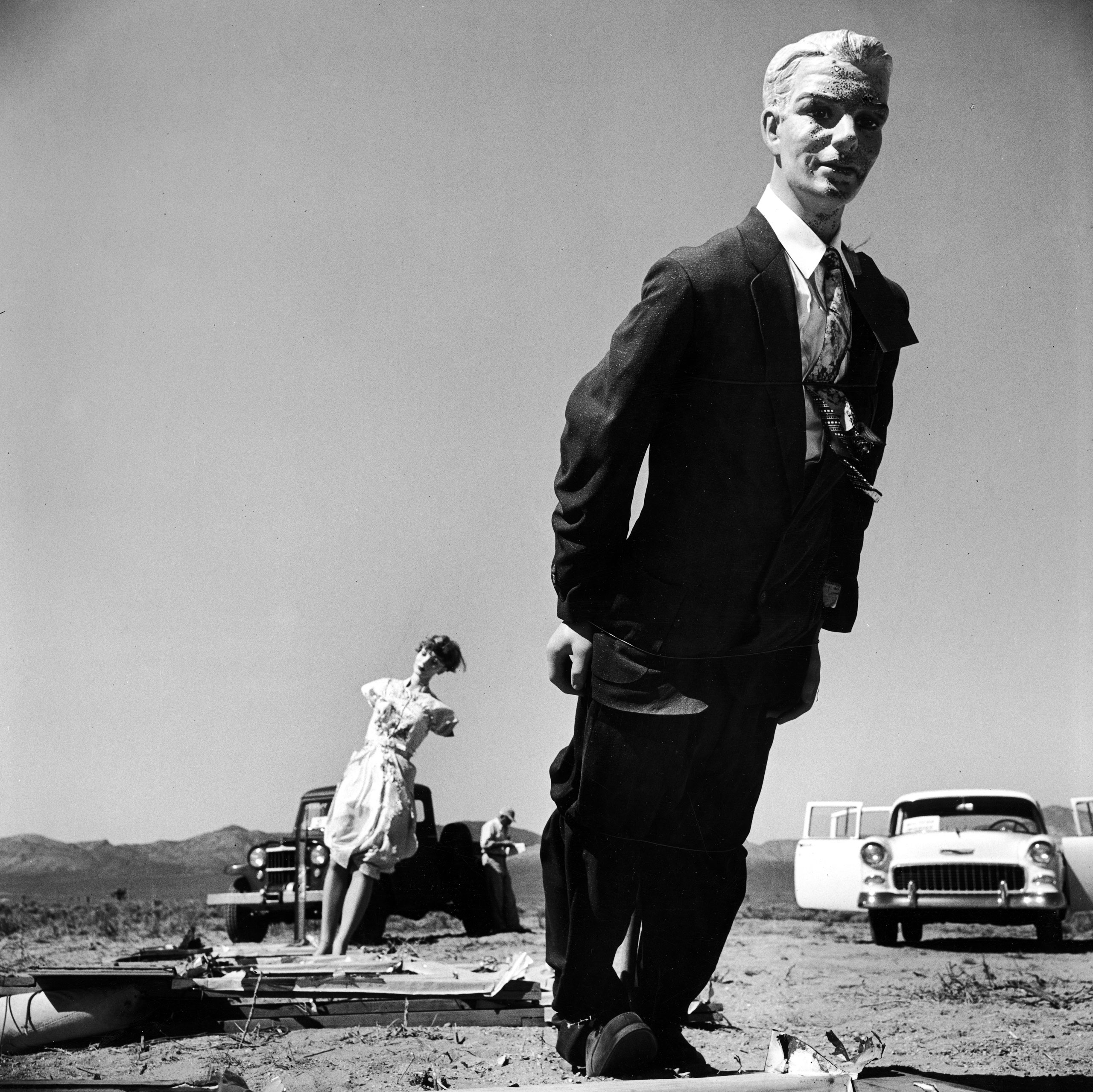 LIFE magazine pictures made after an atomic weapon test, Nevada, 1955.