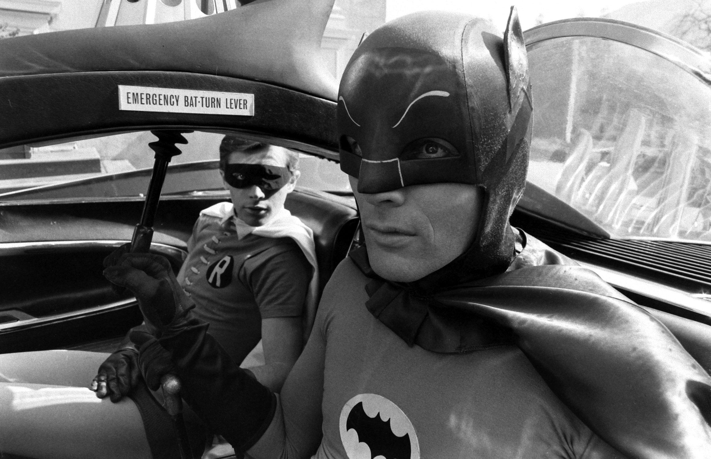 Adam West (Batman) and Burt Ward (Robin) on the set of Batman, 1966.