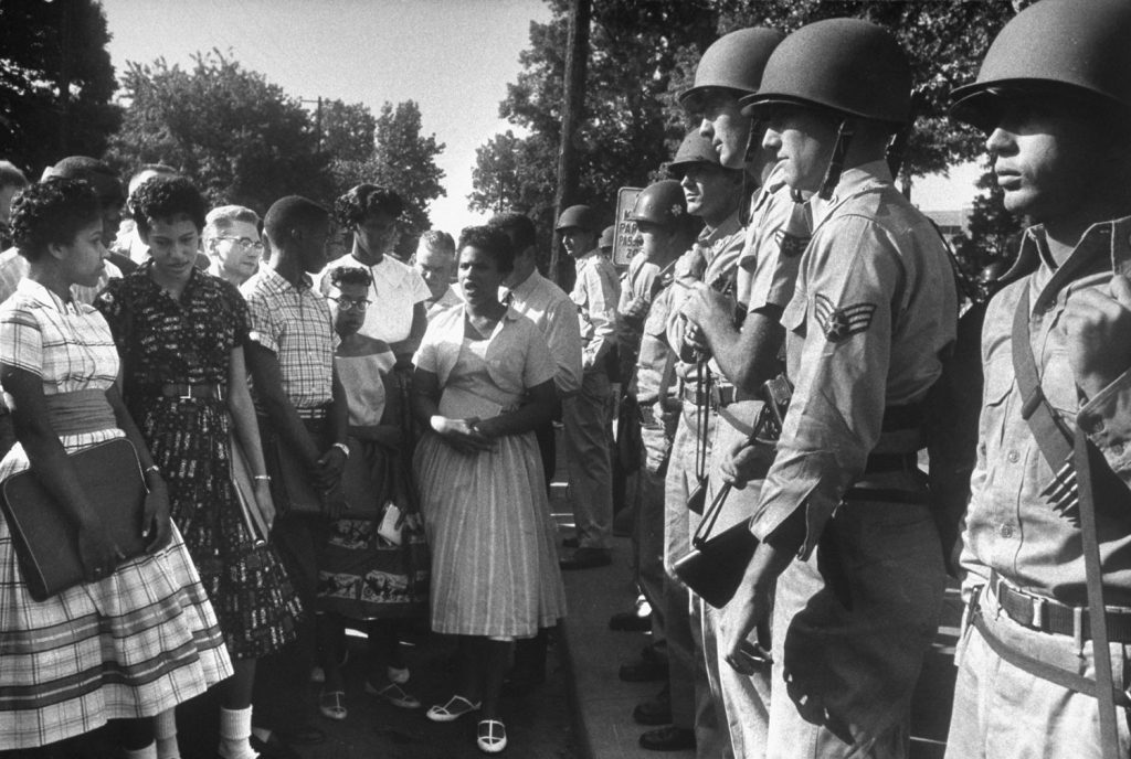 Arkansas National Guardsmen prevent African American students from entering Little Rock Central High School, September 1957.
