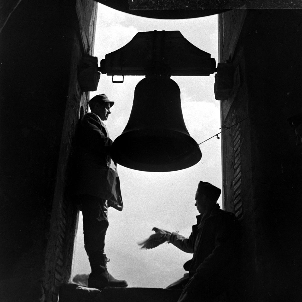 Troops in a bell tower during the 1944 eruption of Mt. Vesuvius, Italy.