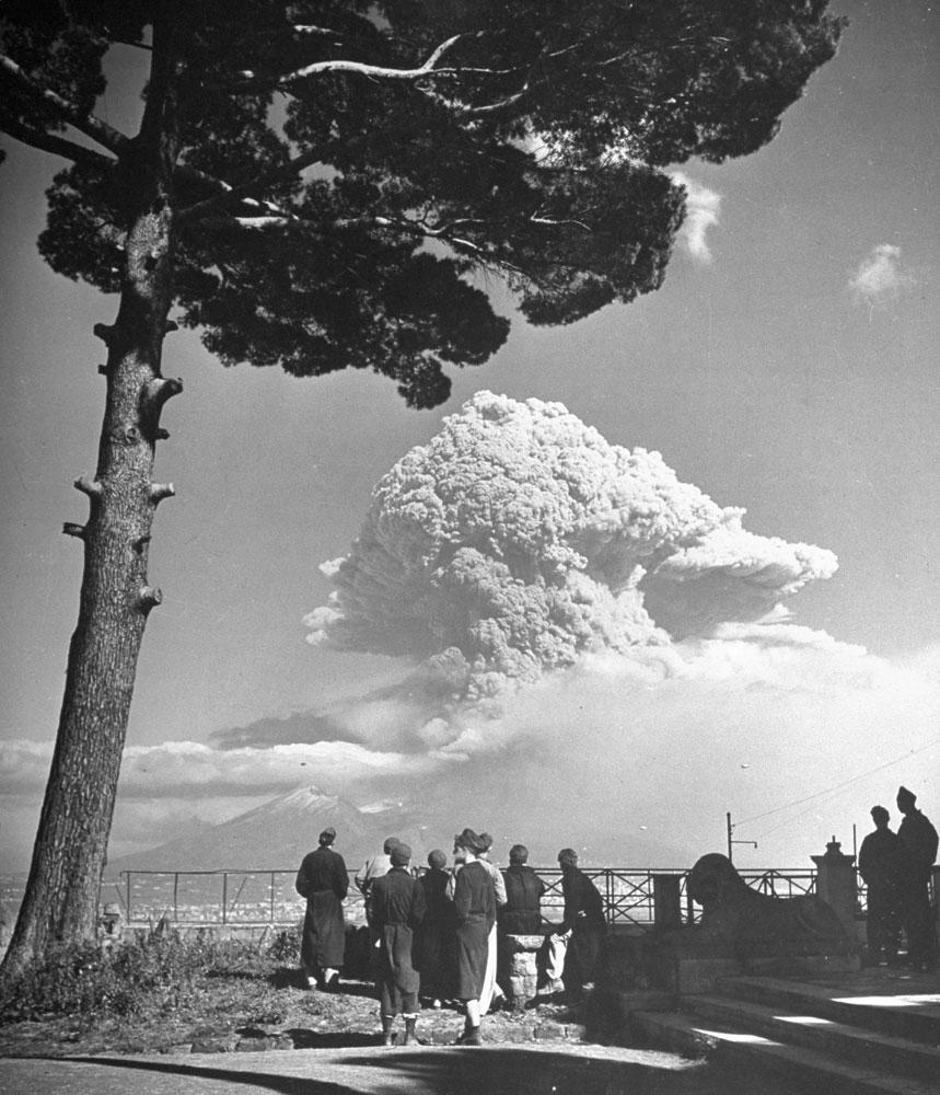 Watching the 1944 eruption of Mt. Vesuvius, Italy.