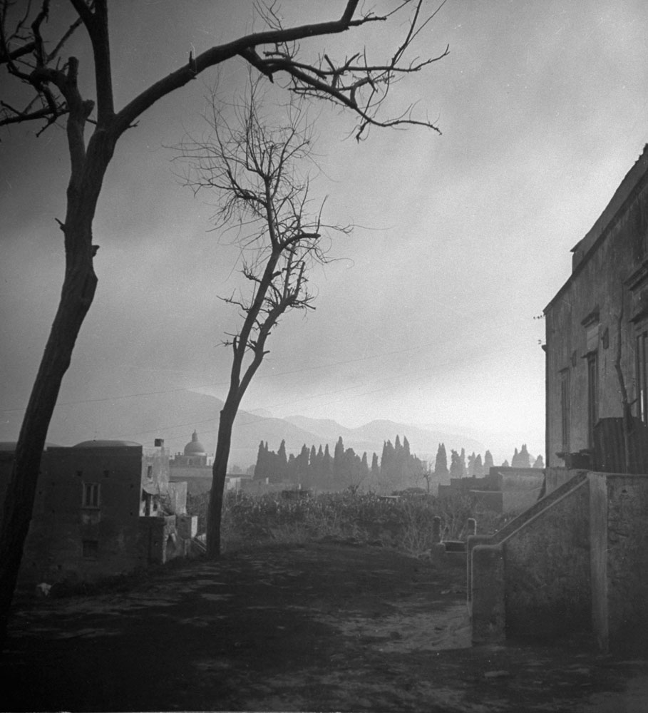 Scene in nearby town during the 1944 eruption of Mt. Vesuvius.