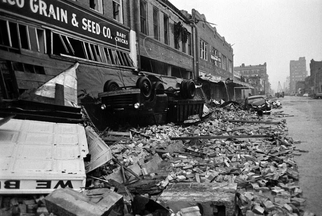 Waco, Texas, after an F5 tornado hit the city, May 1953.