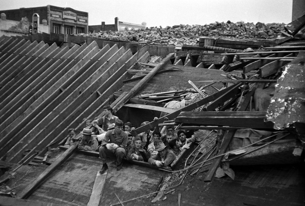 Scene of destruction in Waco, Texas, after an F5 tornado hit, May 1953.
