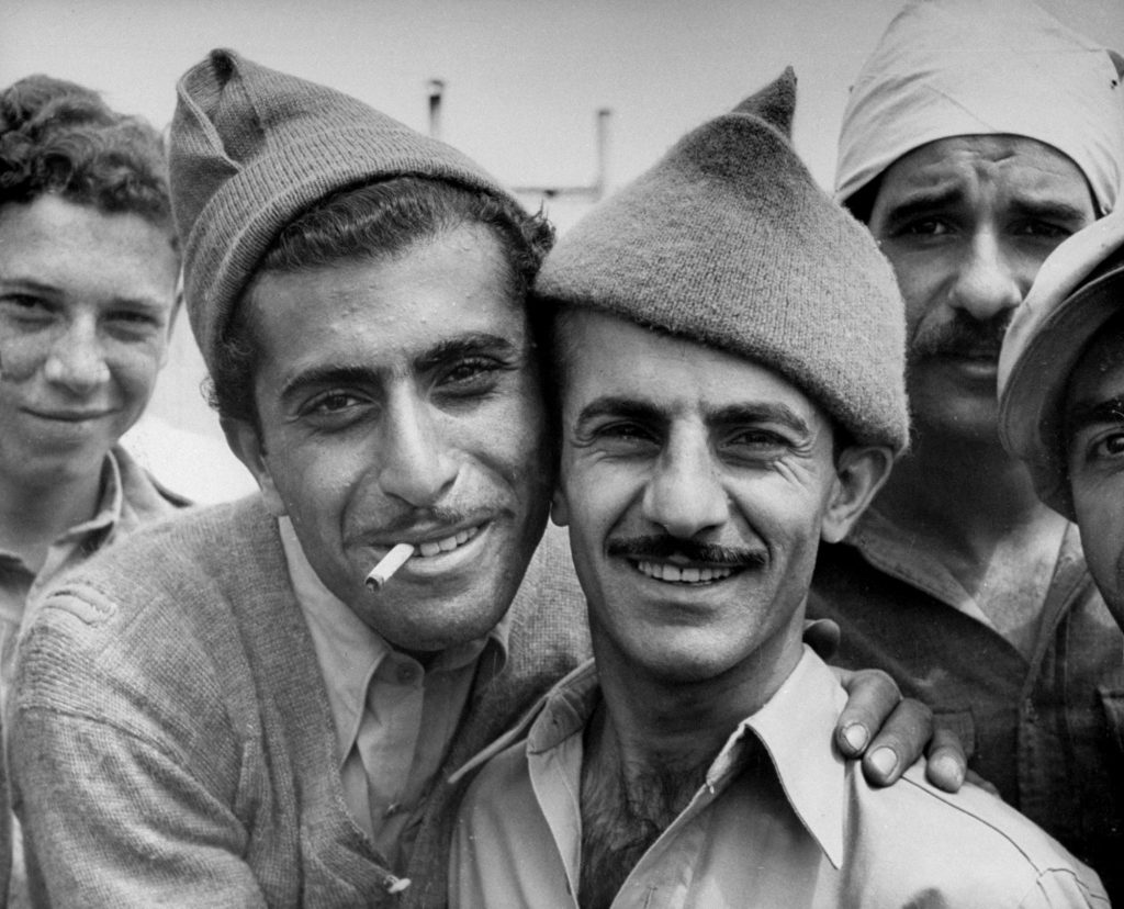 Israeli men photographed shortly after the establishment of the state of Israel, exact location unknown, May 1948.
