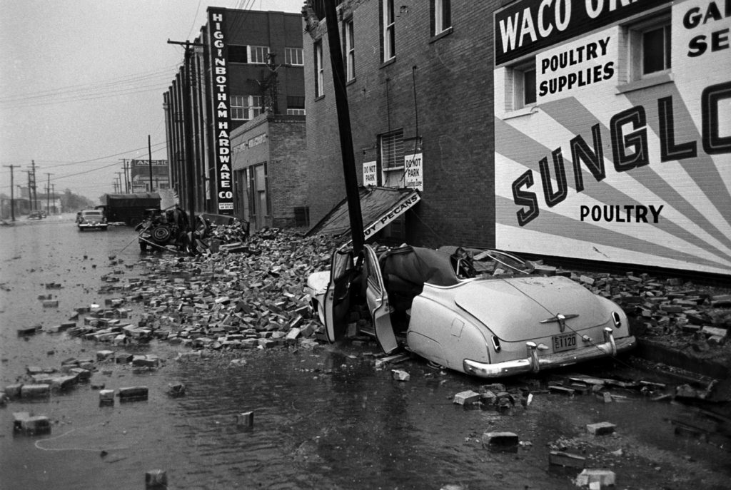 Scene on a Waco, Texas, street after an F5 tornado hit the city, May 1953.