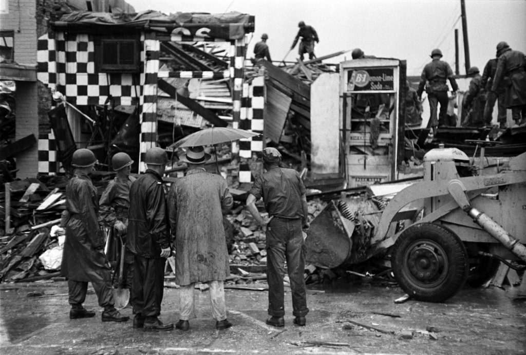 Clean-up and recovery efforts in Waco, Texas, after an F5 tornado hit the city, May 1953.