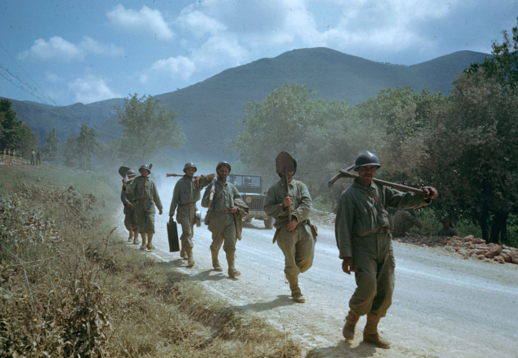 Troops in the Liri Valley, on the road to Rome, Italian Campaign, 1944.