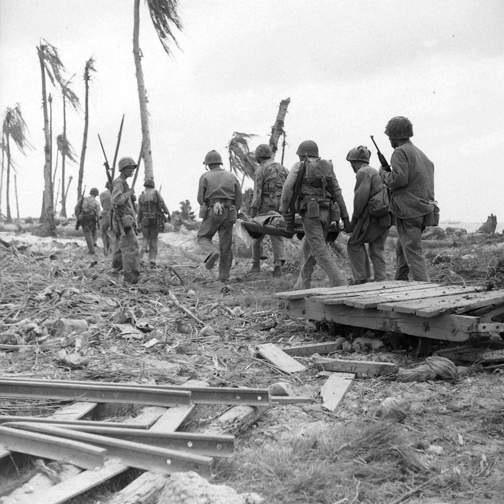 American troops, Engebi Island, Battle of Eniwetok, February 1944.