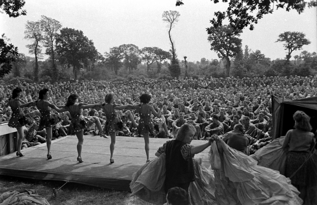 French performers in first organized show for American troops after D-Day, Normandy, July 1944.