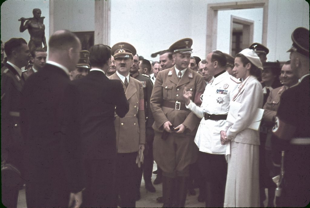 "Adolf Hitler, Dino Alfieri, Gerdy Troost and others at Munich's Haus der Kunst for the 1939 ""Day of German Art."""