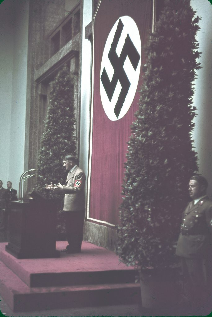 """Hitler speaks at Munich's Haus der Kunst during the 1939 """"Day of German Art."""""""