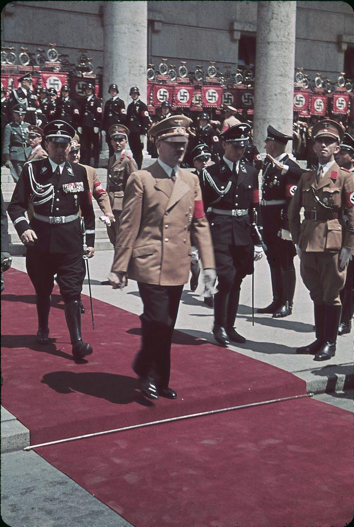 "Hitler leaving Haus der Kunst during the 1939 ""Day of German Art."""