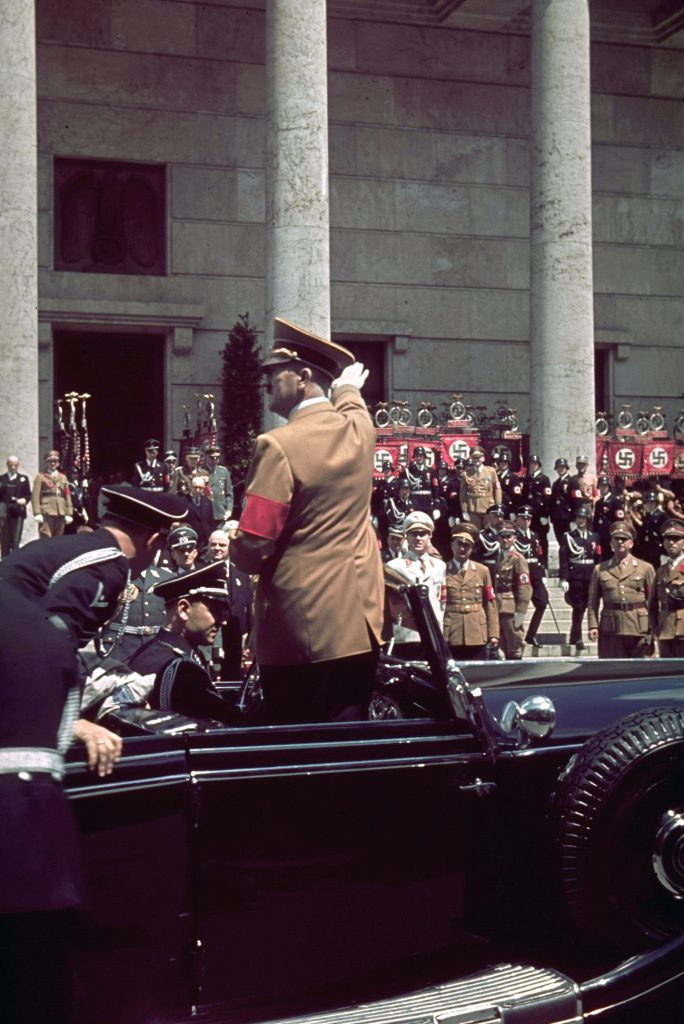 "Hitler outside Munich's Haus der Kunst during the 1939 ""Day of German Art."""
