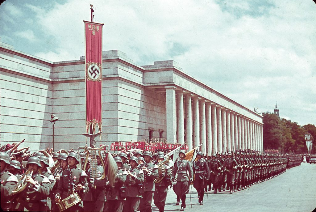 "Procession outside Munich's Haus der Kunst during the 1939 ""Day of German Art."""