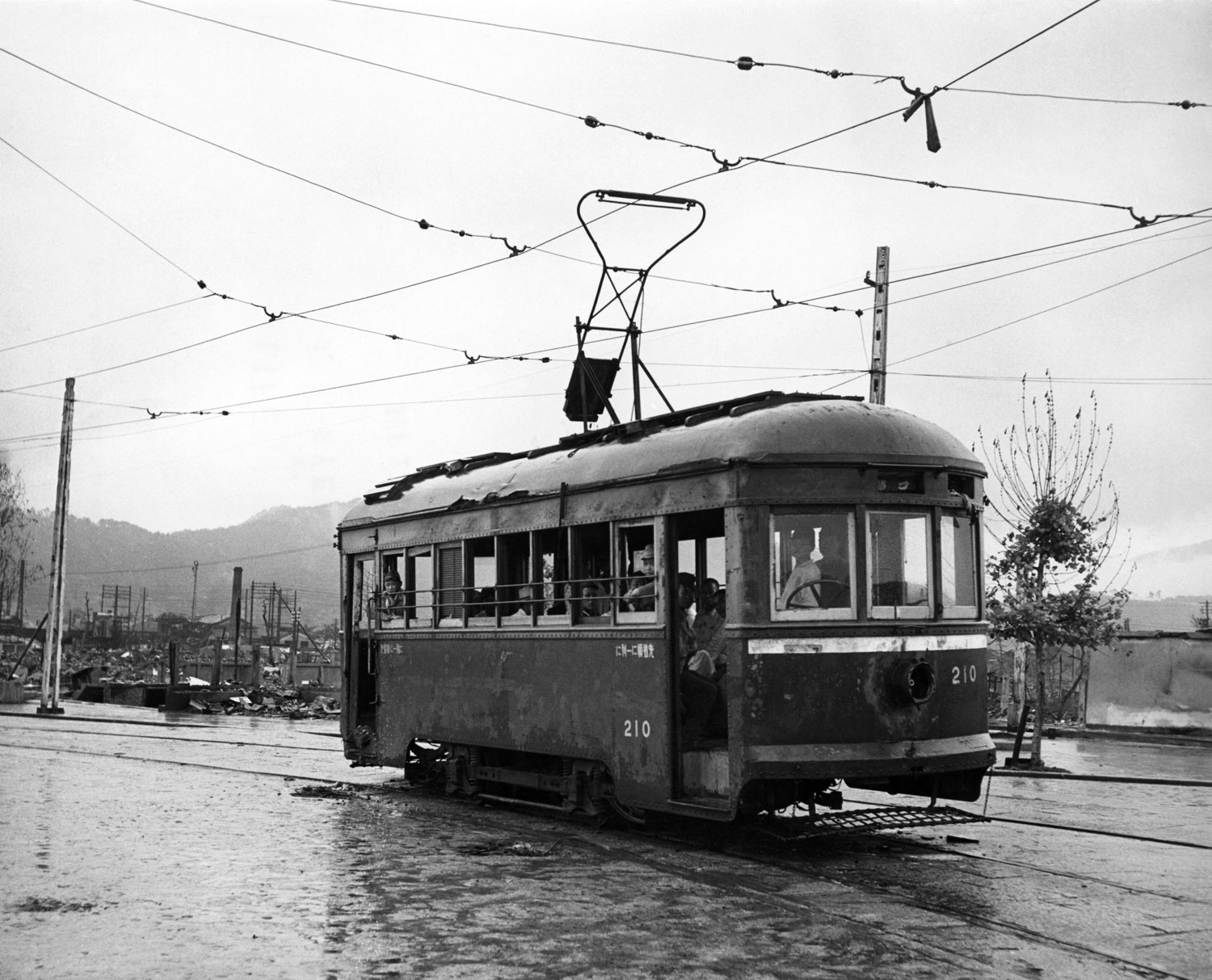 Hiroshima streetcar, September, 1945.