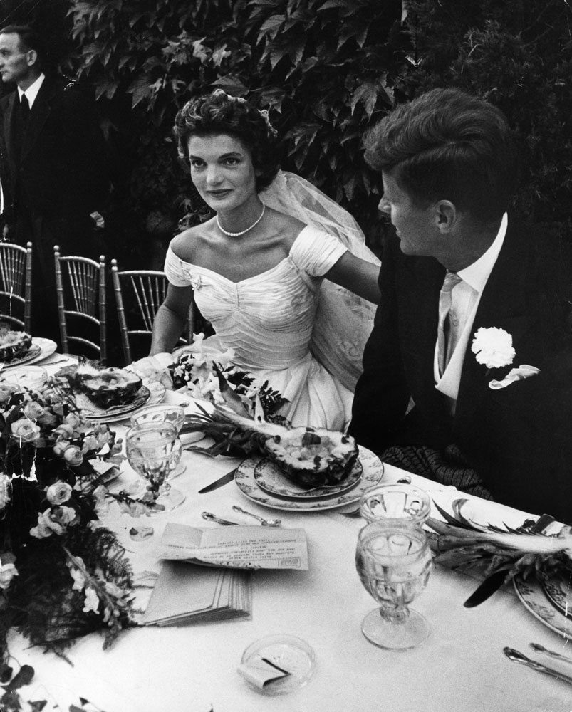 John and Jackie Kennedy on their wedding day, Newport, R.I., Sept. 12, 1953.
