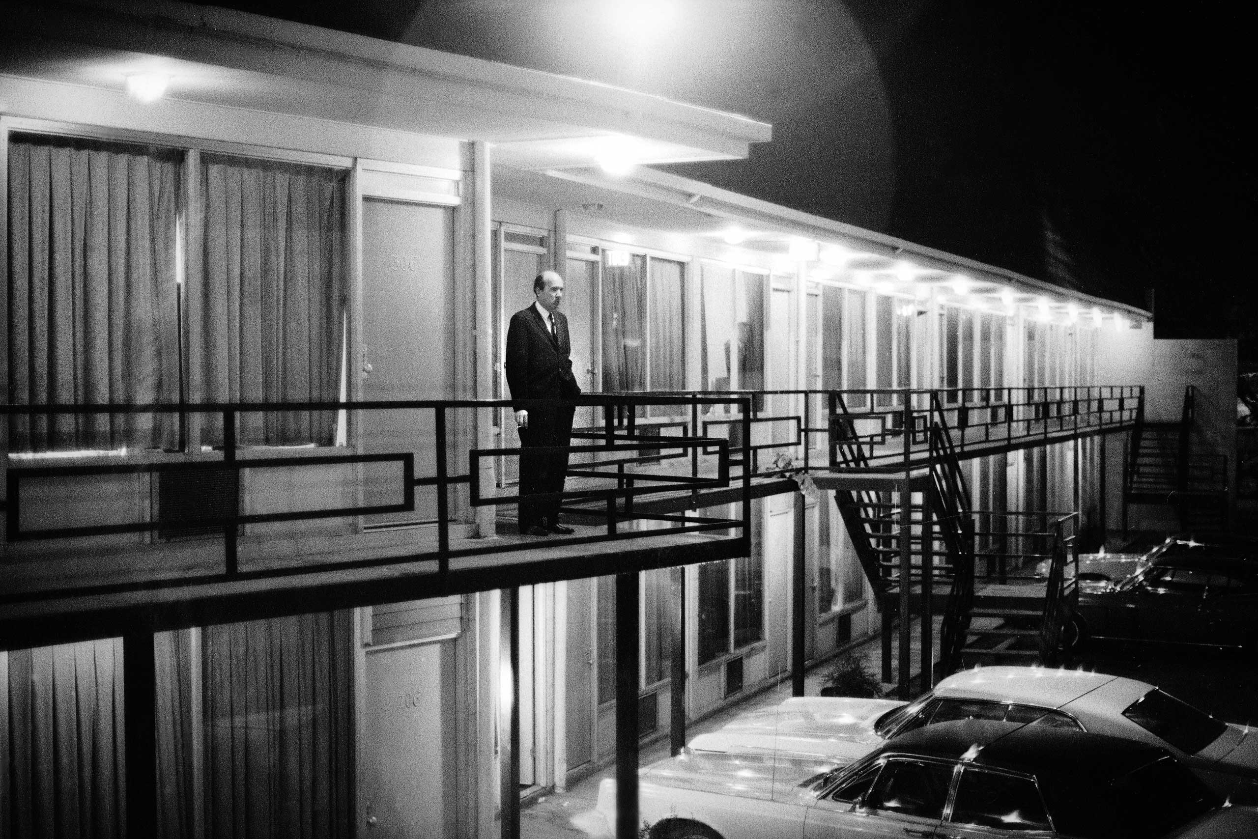 "Will D. Campbell, alone on the Lorraine Motel balcony, gazes out into the night. ""This picture was probably made as soon as we got there,"" Groskinsky told LIFE.com. ""When I saw him standing there, alone, I thought it looked as if he was just asking himsel"