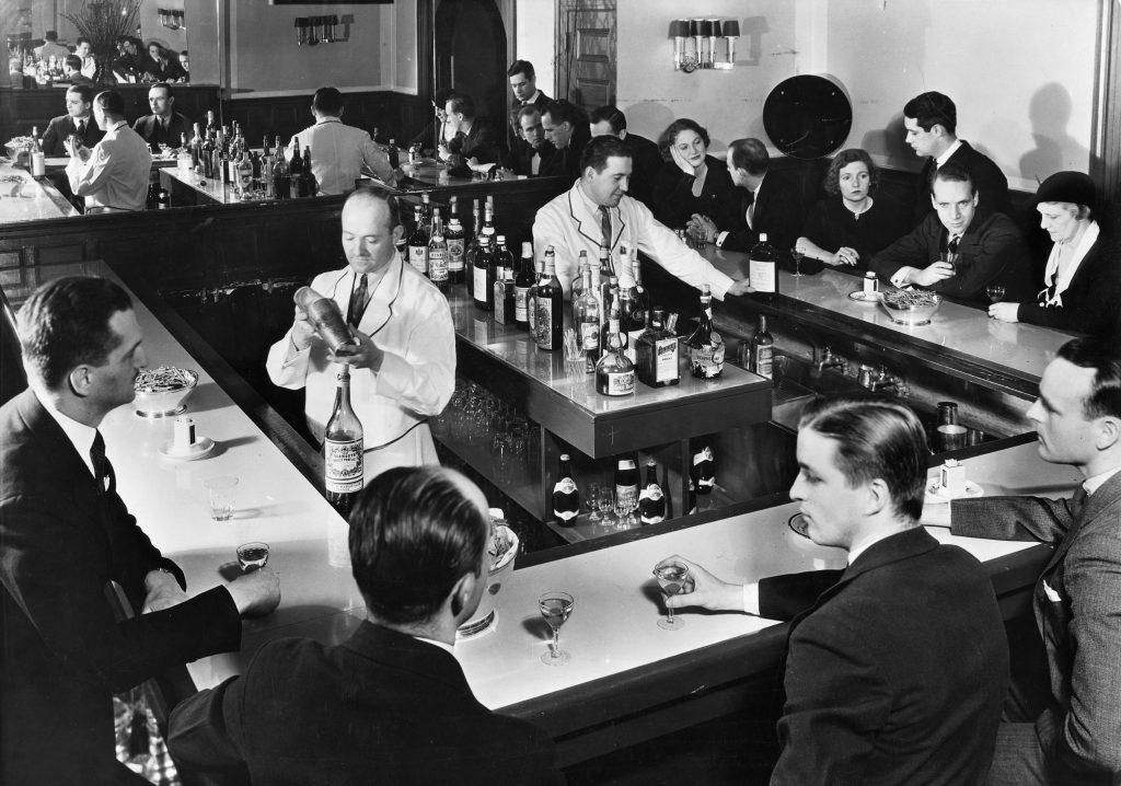 Scene inside a New York City speakeasy during Prohibition, 1933.