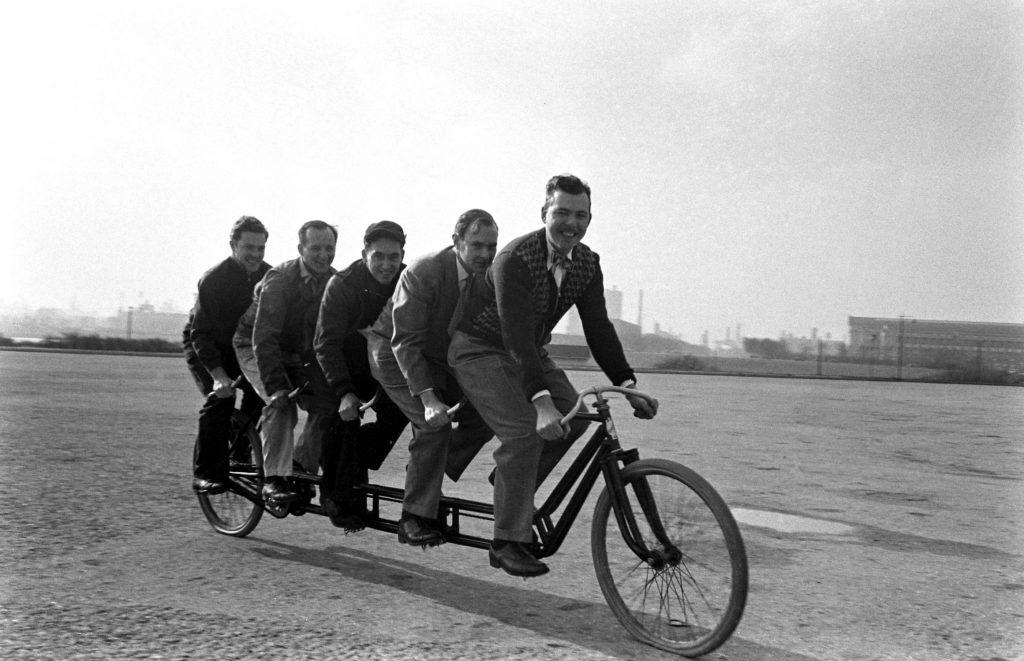 Men on bike, Chicago, 1948.