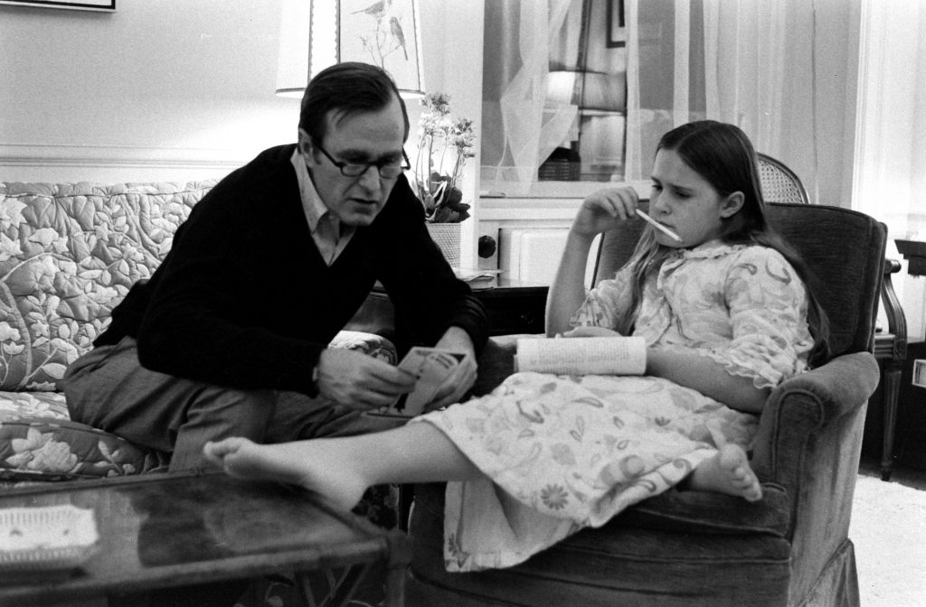 George H.W. Bush with daughter Dorothy at home in 1971.