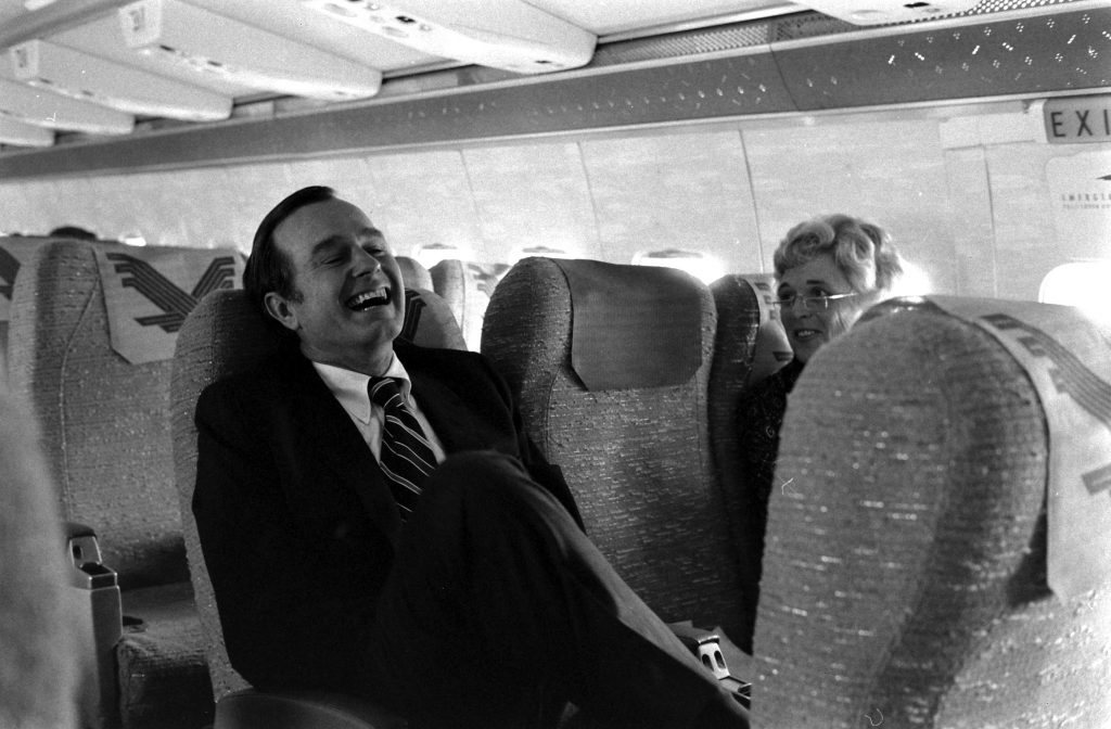 George H.W. Bush and wife Barbara on a plane in 1971.