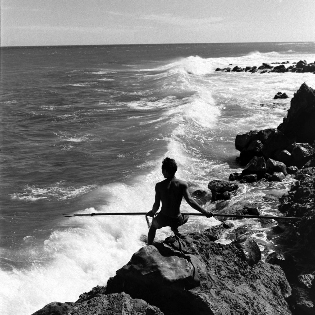 A fisherman with a spear.