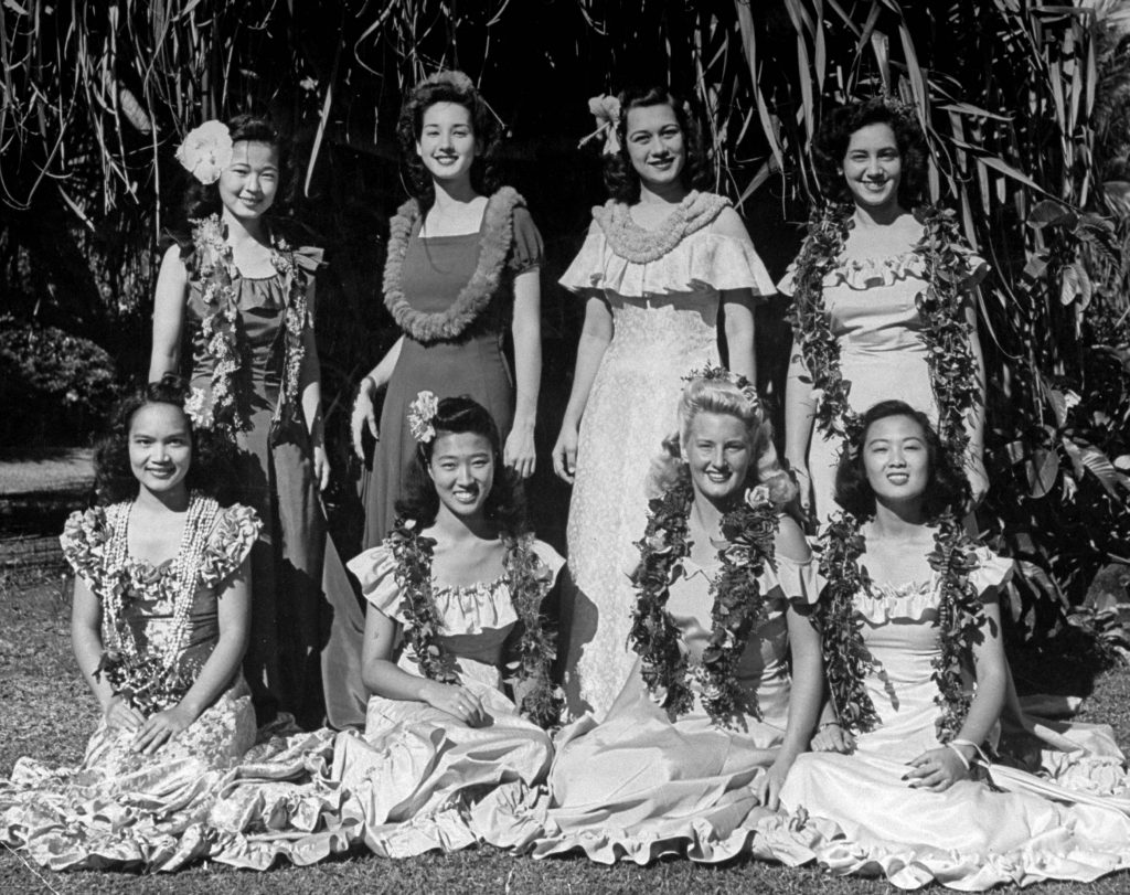 University of Hawaii girls who are chosen by the student body to serve as Princesses and Queen in annual May Day ceremony held at the University.
