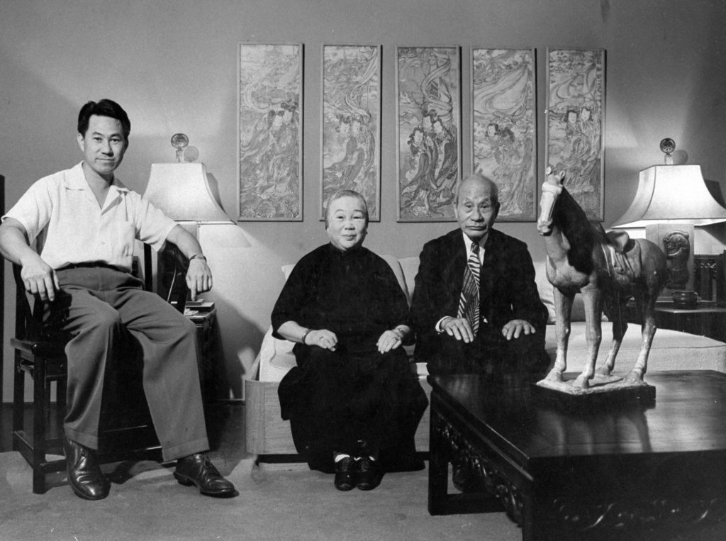 Chinese family includes elder Youngs, 78 and 71, and son, John, a painter. Chinese brought few wives from China because their bound feet were rated useless on plantations. Exclusion Act, which was repealed in 1943, shut out Chinese in 1900.