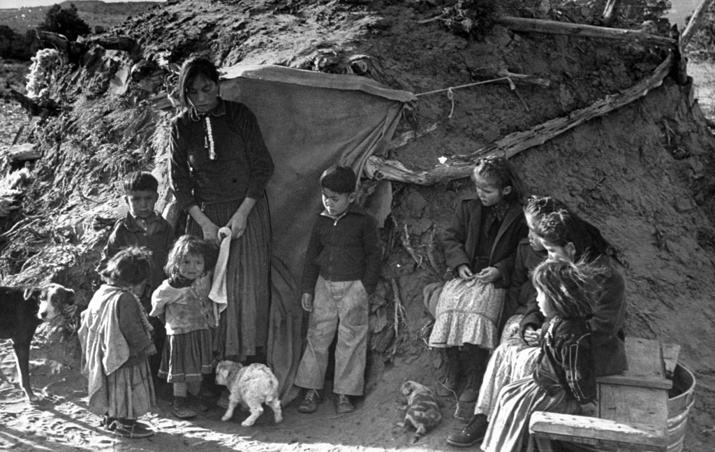 A Navajo family living on a reservation.