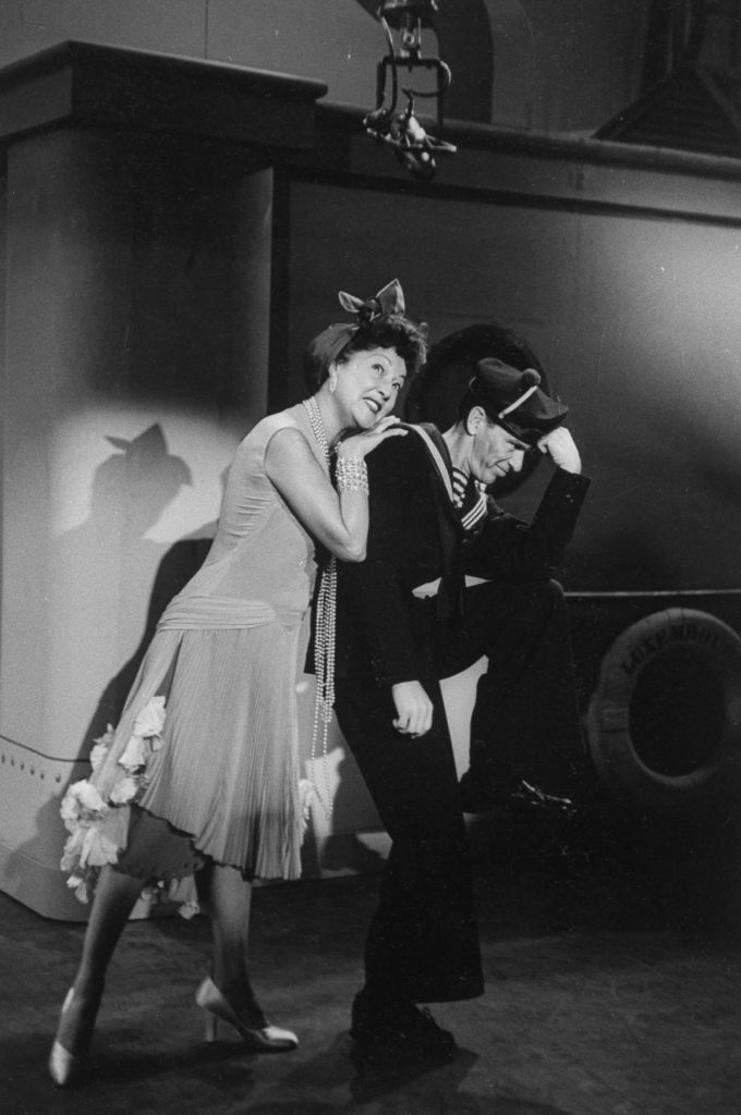 Ethel Merman and Frank Sinatra singing duet Your the Top in preliminary rehearsal for Anything Goes presented on TV show The Colgate Comedy Hour, 1954.