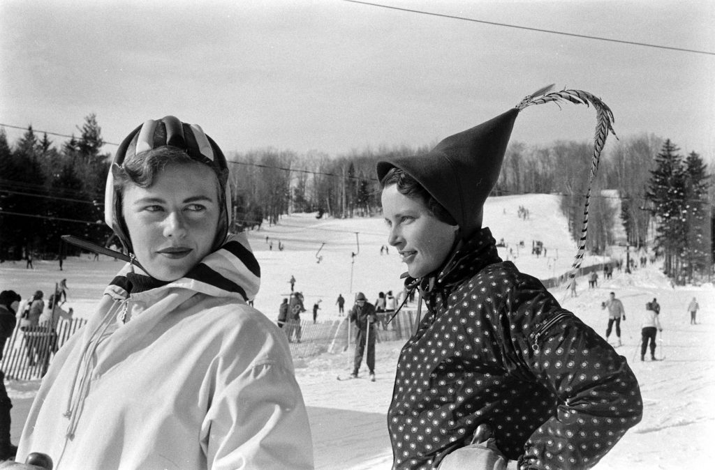 Fashion on the ski slopes at Mt. Snow, Vermont, 1957.
